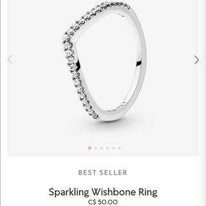 Sparkling wishbone pandora ring